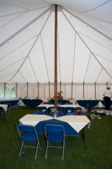 Interior of traditional marquee Weald and Downland Museum